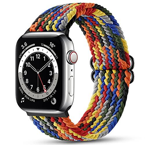 Maledan Correas Compatible con Apple Watch Correa 44mm 42mm ,Correa de Estirar Elásticos Trenzados Suave de Repuesto Compatible con Apple Watch SE/iWatch Series 6/5/4/3/2/1-Arcoíris
