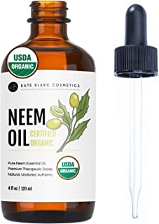Neem Oil (4oz) by Kate Blanc. USDA Certified Organic, Virgin, Cold Pressed, 100% Pure. Great for Hair, Skin, Nails, Acne a...