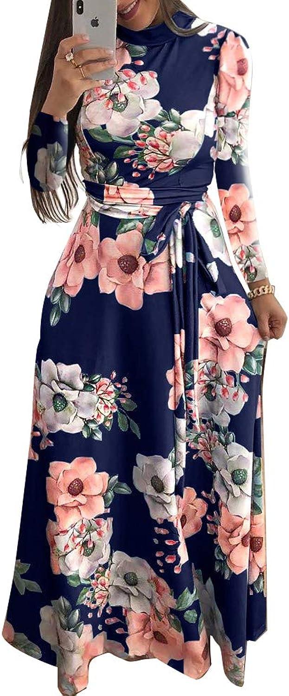 Lunaya Women Long Sleeve Floral Casual Dress Flowy Swing Bohemia Maxi Dresses Long Evening Party Dress
