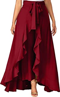 SHREE RAMKRISHNA FAB Women's Ruffle Pants Split High Waist Maxi Long Crepe Palazzo Overlay Pant Skirt