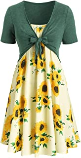 Sunmoot Sexy Cami Dress for Women Short Sleeve Bow Knot Bandage T Shirt Sunflower Print Smock Swing Dress Suits