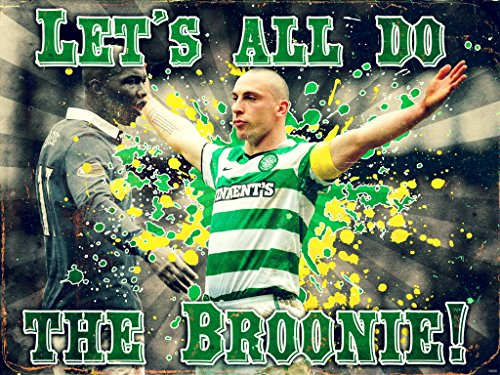 Scott Brown Celtic Celebration El Hadji Diouf Broonie Broony Football Retro Vintage Art 16x12 Poster Print