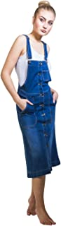 Button front Denim Dungaree Dress Flared Bib overall Dress with Stretch