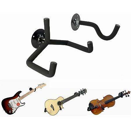 Honglei Guitar Wall Mount Stands Electric Guitar Hook Holders with Screws Fits for Bass Guitar//Ukulele//Violin Universal Wall Hanger Bracket Square Base(Black-2pcs)