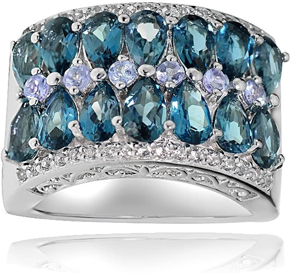 Ice Miami Mall Gems Sterling Silver Genuine Tanzanite and Blue Our shop OFFers the best service London Whit