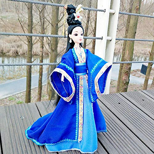 TOORY mural Traje de Estilo Chino Belleza muñeca Disfraz muñeca Caja de Regalo Conjunto decoración de Juguete para niños Regalo de cumpleaños-Azul Real