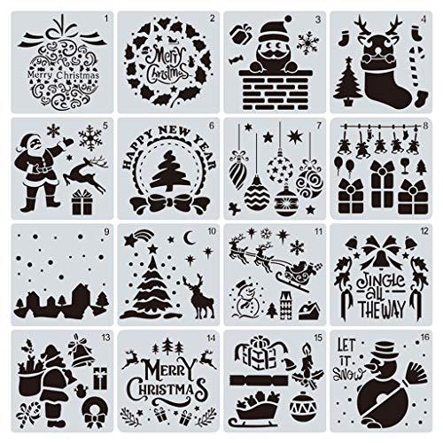 Juego de 8 plantillas de Navidad con diseño de árboles de Navidad, para álbumes de recortes, pintura, dibujo, manualidades, etc.