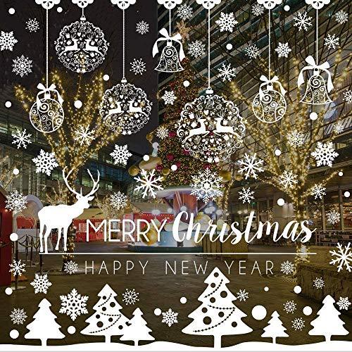 Flysee Weihnachten Fensterbilder, Schneeflocken Fensterbilder Fensterdeko für Weihnachts und Winter Dekoration, Türen, Schaufenster, Vitrinen, Glasfronten, Statisch Haftende PVC Aufkleber