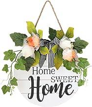 House Sign Hanging Sign Ronde deur met bloemen Houten Sweet Home Teken voor Opknoping Farmhouse Porch Spring Summer Decora...
