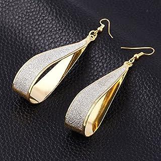 Gold Silver Crystal Scrub Water Drop Hook Dangle Earrings Fashion Women Party (Gold)