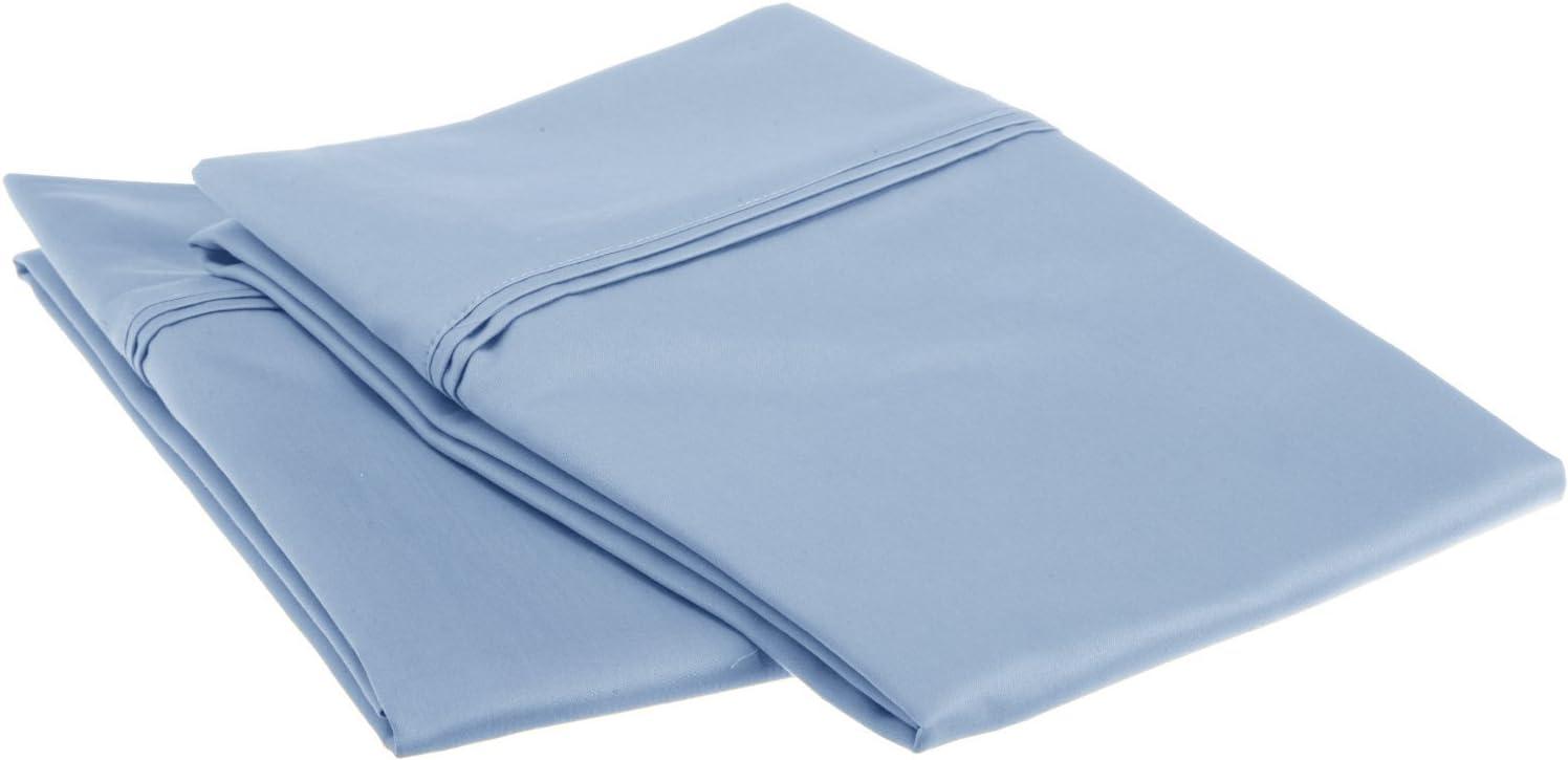 SUPERIOR Standard Pillowcases 1200-Thread Soft Long-Staple Combed Cotton,2-Piece,Light Blue