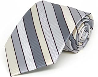 TieMart Boys' Light Silver Douglas Stripe Necktie
