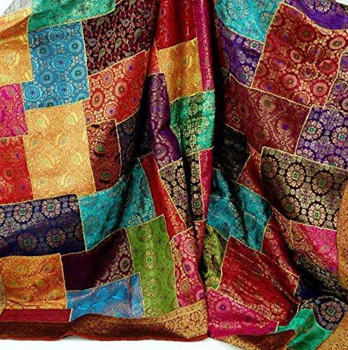 Guru-Shop Orientalische Patchwork Brokatdecke, Indische Tagesdecke - Patchwork, Mehrfarbig, Synthetisch, 270x220x0,5 cm, Patchwork Steppdecke aus Indien