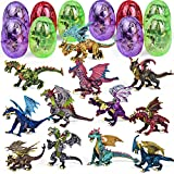 FUN LITTLE TOYS 12 Pack Dragon Toys, Dragon Figure 3D Puzzles for Kids Party Favors Dragon Party Decorations, Goodie Bag Fillers and Kids Prizes