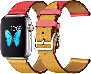 Leather Band Compatible with Apple Watch iwatch 38mm 40mm 42mm 44mm, Luxury-Genuine-Apple-Watch-Bands Two Tone Straps