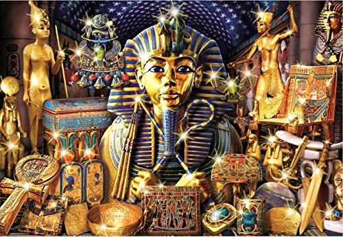 Puzzle 1000 Teile Puzzel Für Erwachsene Kind Puzzles-Ägyptisches Pharao-Gold-Aus Holz Puzzle Panorama Art DIY Leisure Game Fun Geschenk Spielzeug Geeignete Freunde Familie