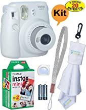 Fujifilm Instax Mini 9 Instant Film Camera + 20 Sheets of Instant Film + Lens Cleaning Cloth + Close-Up Selfie Lens + Wrist Strap | Batteries Included - Smokey-White