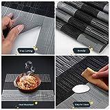 Place Mat Set with 6 Place Mats + 6 Coasters + 1 x Long Place Mats Non-Slip Heat Resistant Washable (Schwarz Grau) - 4