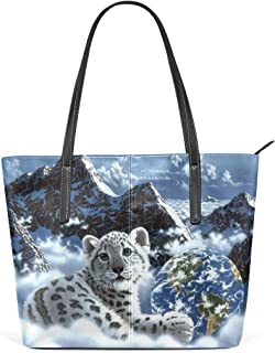 Ethel Ernest Snow Leopard Purse PU Leather Shoulder Tote Bag Purse for Womens Girls Ladies