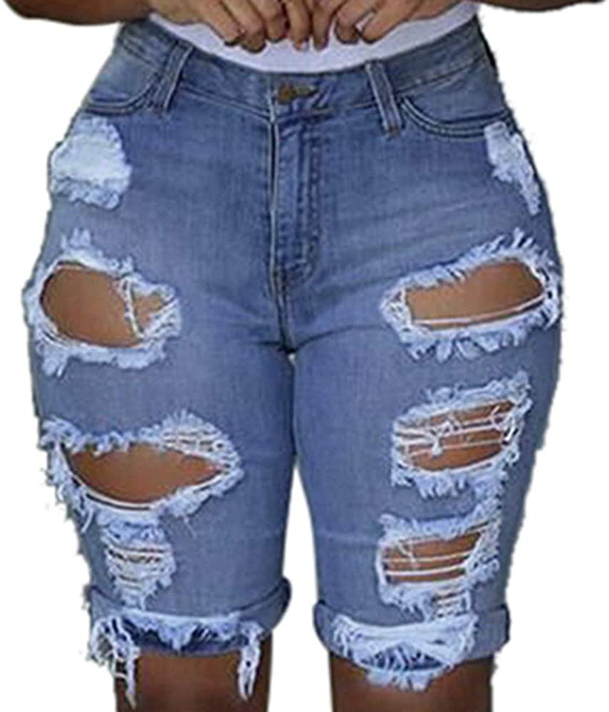 ZAKIO Jeans for Women, Women's Skinny High Waist Washed Ripped Holes Denim Shorts Casual Stretchy Short Denim Jeans