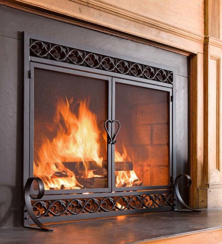 Plow & Hearth Scrollwork Small Fireplace Screen with Hinged Doors Cast Iron Border Sturdy Steel Frame Durable Metal Mesh Decorative Elegant Design Free Standing Spark Guard Black Finish 38 W x 31.5 H