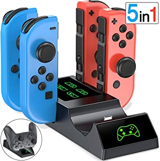 ESYWEN Charging Dock for Nintendo Switch Joy-Con, 5 in 1 Controller Charging Station for Joy-Con and Switch Pro Controller