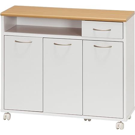 不二貿易 キッチンカウンター 幅80cm ホワイト キャスター付き リビング収納 96365