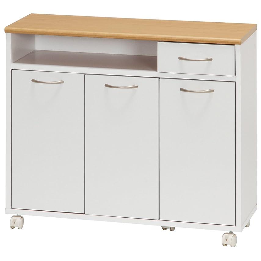 制限豊かな不毛の不二貿易 キッチンカウンター 幅80cm ホワイト キャスター付き リビング収納 96365