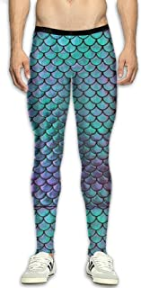 Men¡¯s Compression Green Mermaid Scales Pants Baselayer Running Tights 3D Print Fitness Sports Leggings