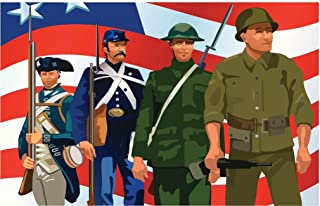 American Soldiers Throughout History Patriotic Cubicle Locker Mini Art Poster 12x8