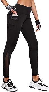 SweatyRocks Women's Legging Mesh Insert Ripped Tights Yoga Slim Pants