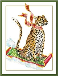 Caspari Sledding Leopard Large Boxed Christmas Cards - 32 Cards & Envelopes