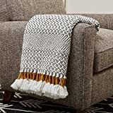 Amazon Brand – Rivet Modern Hand-Woven Stripe Fringe Throw Blanket, 50' x 60', Grey and White with Mustard Yellow