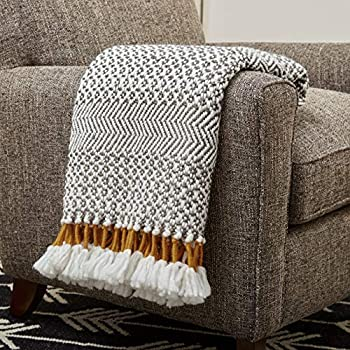 Amazon Brand – Rivet Modern Hand-Woven Stripe Fringe Throw Blanket 50  x 60  Grey and White with Mustard Yellow