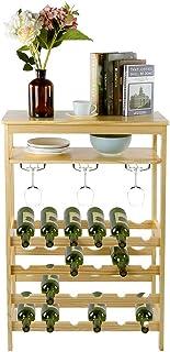 Casier à Vin Multi-Bouteilles, Casier à Vin de 6 Etages en Bambou pour 24 Bouteilles Total Avec Support pour 10 Verres 100...
