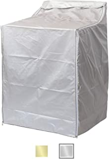 """QLLY Washer/Dryer Cover for Top-loading Machine – Waterproof, Dustproof, Sun-Proof, W29""""D28""""H43"""" Suitable for most Washers/Dryers on US market (Enhanced Silver)"""