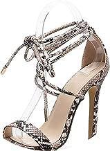 Women's Sandals PU Lace-Up Thin High Heels Cover Heel Shallow Mature Serpentine 35-40,Serpentine,9