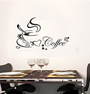 BIBITIME Black Coffee Cup Sayings English Word Wall Vinyl Sticker Bedroom Art Mural Decals Quotes for Shop Bar Window Glass Door,22.44