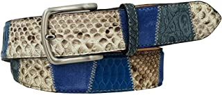 ESPERANTO Cintura in Coccodrillo, Pitone e pelle Bovina Scamosciata - Colore Avio, Altezza 4 cm