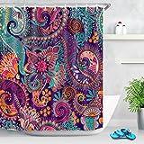 JOOCAR Indischer Bohemian-Duschvorhang mit Mandala-Druck, buntes Paisley-Muster, Peace-Zeichen, Gardinen, Tribal-Duschvorhänge für Badezimmer, wasserdichter Stoff mit 12 Haken