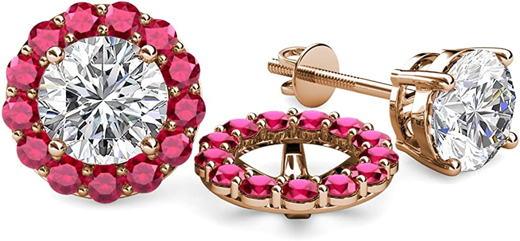 TriJewels Ruby Halo Jacket for Stud Earrings 0.82 cttw in 14K Rose Gold