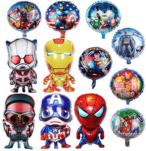 SHANXI Superhero Birthday Party Foil Balloon 12 Pack Avengers Super Hero Birthday Party Supplies Party Decorations