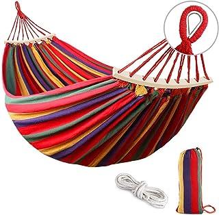 190 * 150cm Hamaca Doble para Acampar, Jardín Hamaca de Camping, Hamaca de Lona a Rayas portátil y Transpirable, Tela de Lona Gruesa y Duradera, Muy Adecuado para Acampar al Aire Libre, Color
