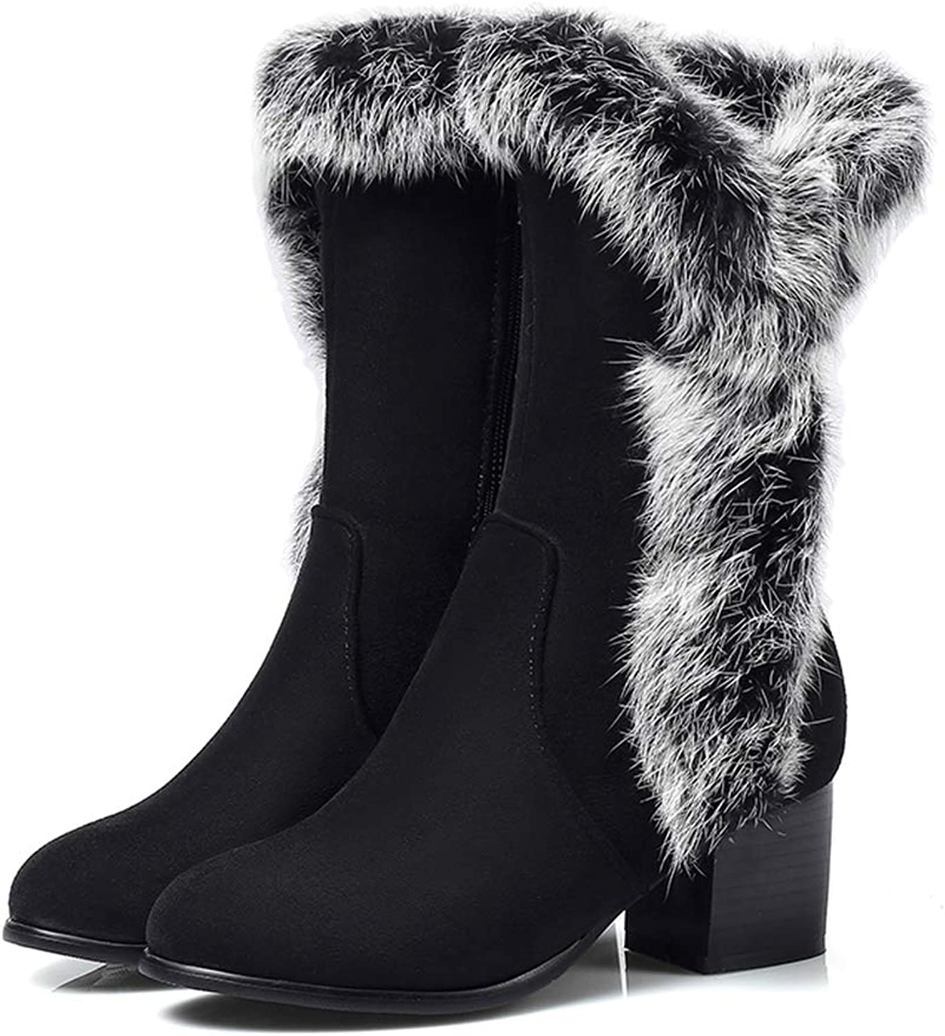 Hoxekle Women Winter Mid Calf Snow Boot Square Mid Heel Round Toe Black Faxu Fur Zipper Rubber Fashion Casual Outdoor shoes