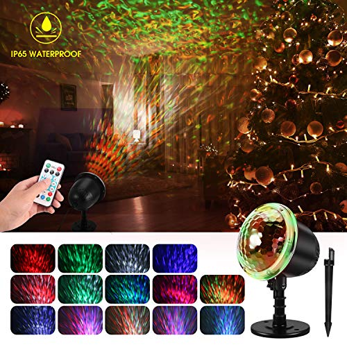 Water Wave Christmas Projector Lights, KINGWILL Waterproof LED Night Light Projector with Ripple RGB...