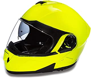 Daytona Helmets Motorcycle Modular Full Face Helmet Glide- Fluorescent Yellow 100% DOT Approved