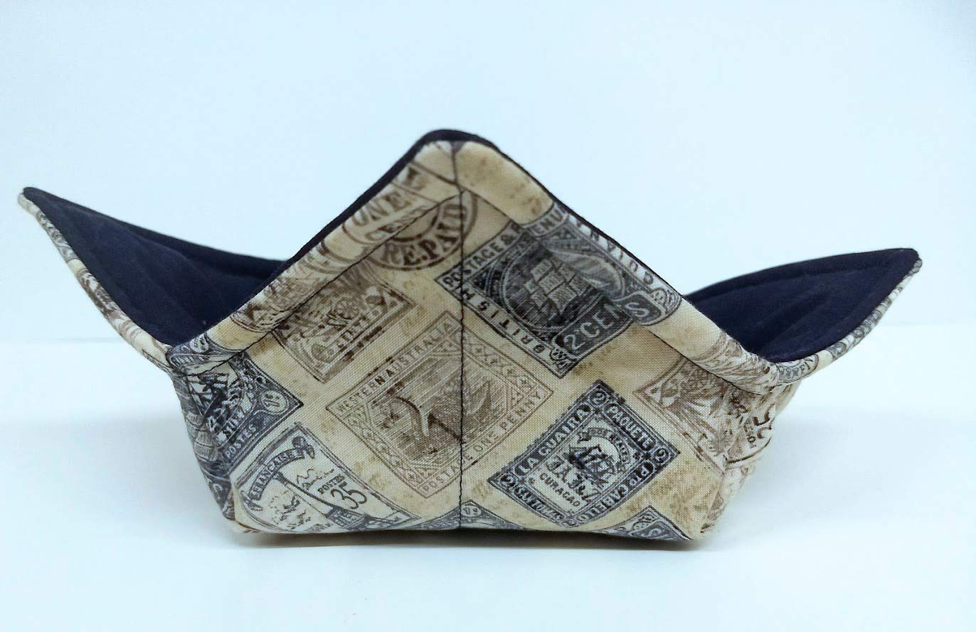 Antique Stamps quilted cotton microwavable soup Milwaukee Mall bowl reversible Ranking TOP11