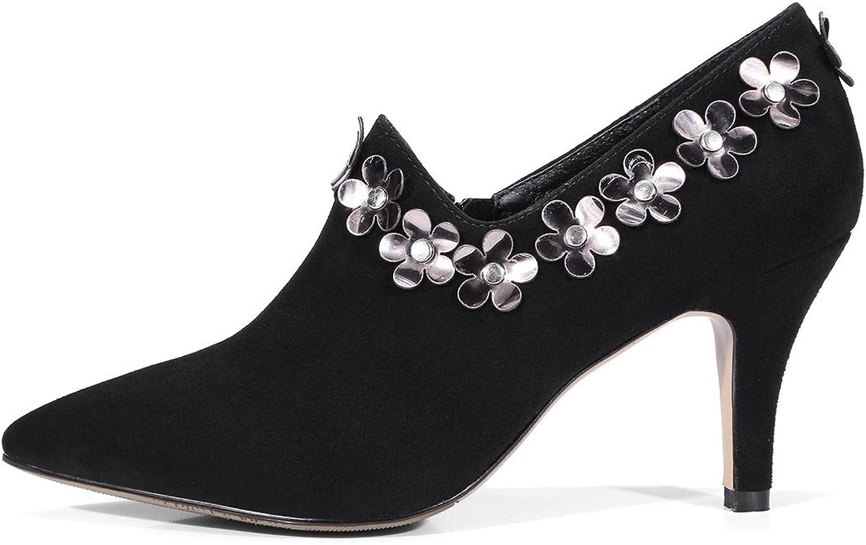 Low Cylinder Winter Metal Sharp Heel Deep Heel High Solid color Comfortable Woman Short Boots