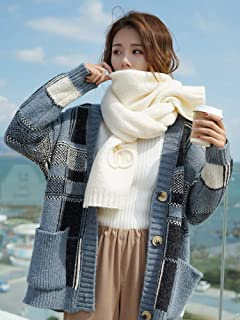 Winter Long Scarf Thick Wool Scarf Female Winter Wild Long Knit Girl Collar (Color : Beige) Winter Soft Scarf (Color : Beige)