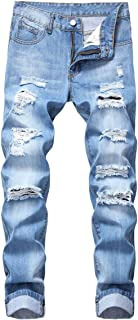 Men's Destroyed Holes Ripped Straight Fit Biker Denim Jeans Pants